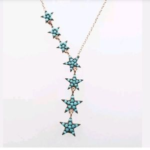 Turquoise star lariat gold necklace